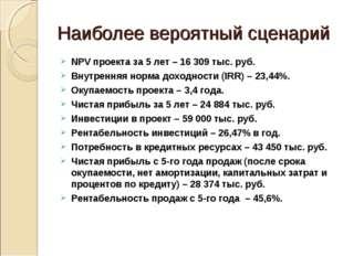 Наиболее вероятный сценарий NPV проекта за 5 лет – 16 309 тыс. руб. Внутрення