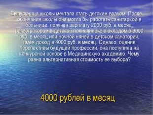 4000 рублей в месяц Выпускница школы мечтала стать детским врачом. После окон