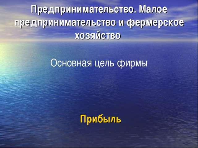 Предпринимательство. Малое предпринимательство и фермерское хозяйство Основн...