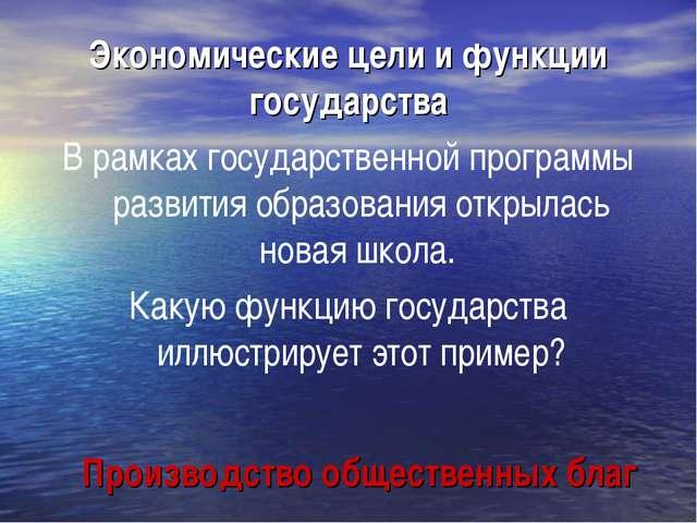 Экономические цели и функции государства В рамках государственной программы р...