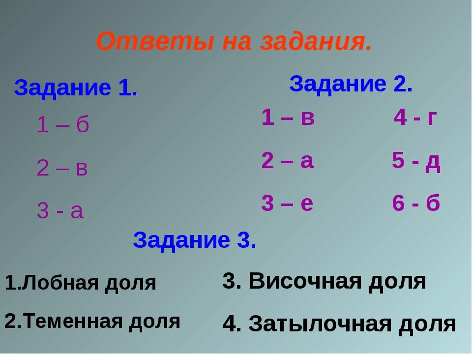 Ответы на задания. Задание 1. 1 – б 2 – в 3 - а Задание 2. 1 – в 4 - г 2 – а...
