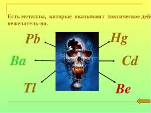 Есть металлы, которые оказывают токсическое действие на организм и их присут