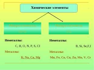 Неметаллы: С, Н, О, N, Р, S, CI Металлы: К, Na, Ca, Mg Неметаллы: В, Si, Se,F