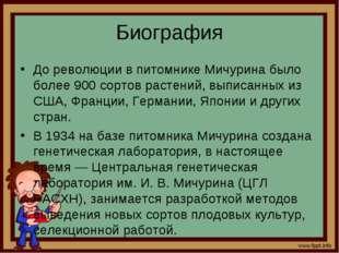 Биография До революции в питомнике Мичурина было более 900 сортов растений, в