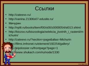 Ссылки http://zateevo.ru/ http://vanina.21306s07.edusite.ru/ Мичурин http://n