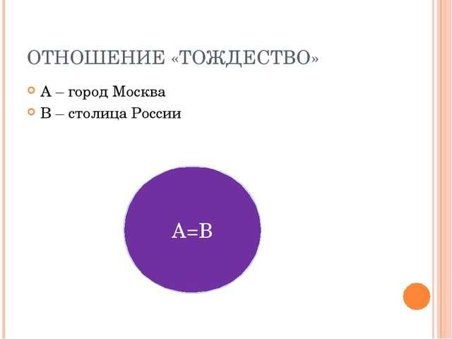 ОТНОШЕНИЕ «ТОЖДЕСТВО» А – город Москва В – столица России А=В