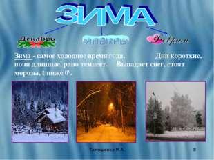 Тимошенко М.А. * Зима - самое холодное время года. Дни короткие, ночи длинные