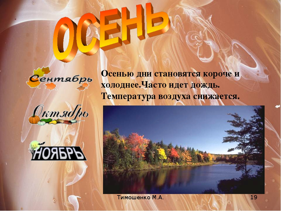 Тимошенко М.А. * Осенью дни становятся короче и холоднее.Часто идет дождь. Те...