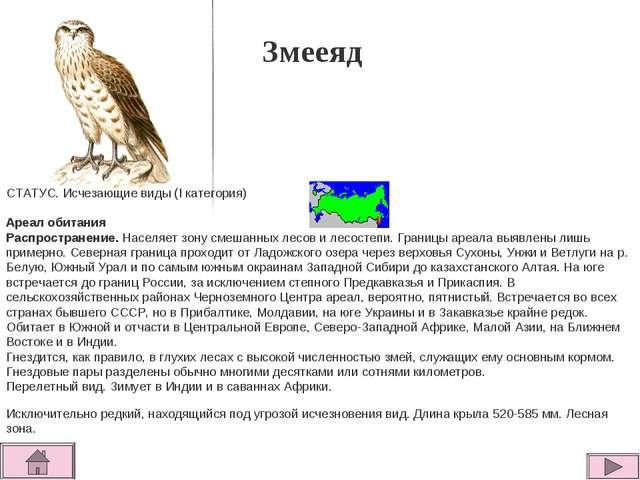 Змееяд СТАТУС. Исчезающие виды (I категория)  Ареал обитания Распространение...