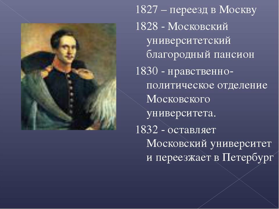 1827 – переезд в Москву 1828 - Московский университетский благородный пансион...
