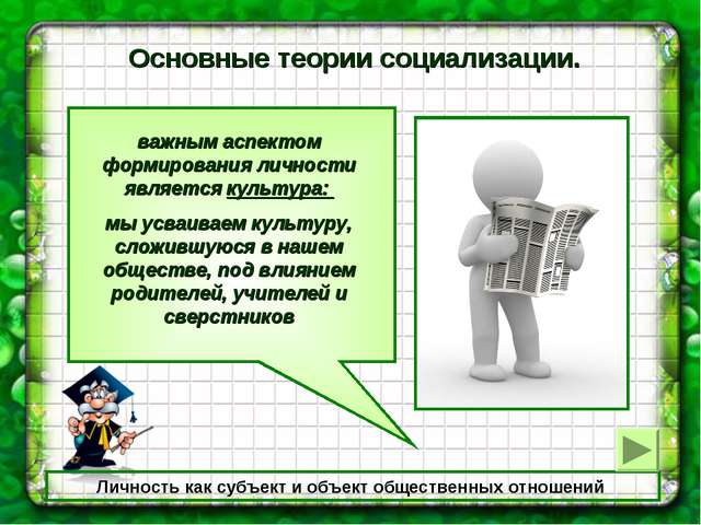 Личность как субъект и объект общественных отношений Основные теории социализ...