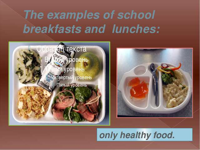 The examples of school breakfasts and  lunches: