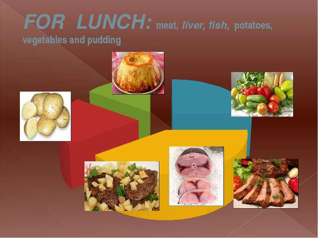 FOR  LUNCH: meat, liver, fish,  potatoes, vegetables and pudding
