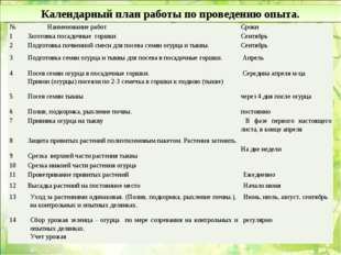 Календарный план работы по проведению опыта. № Наименование работСроки 1За