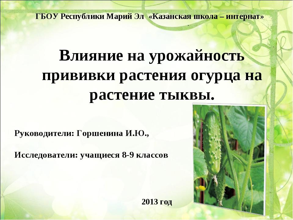 Влияние на урожайность прививки растения огурца на растение тыквы.  Руководи...