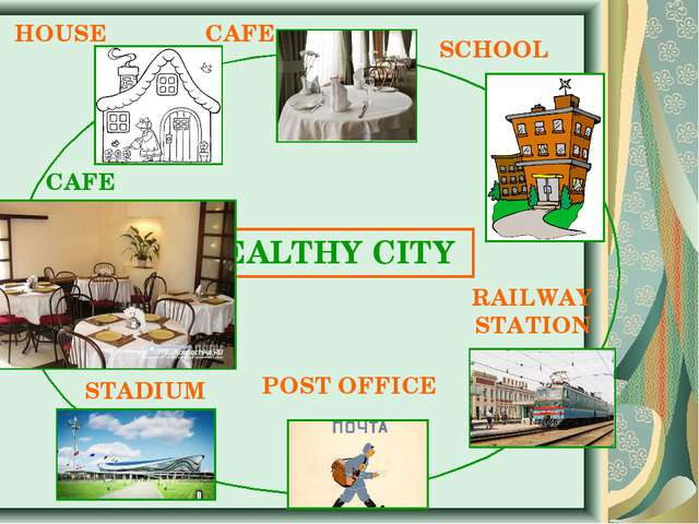 HEALTHY CITY HOUSE CAFE SCHOOL RAILWAY STATION POST OFFICE STADIUM CAFE