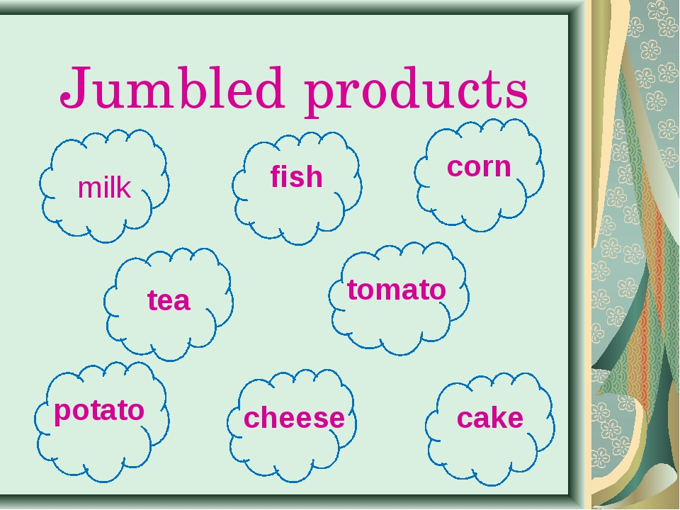 Jumbled products milk cake tomato potato corn fish cheese tea