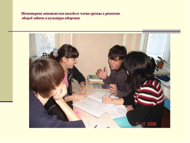 Мониторинг активности каждого члена группы в решении общей задачи и культуры...