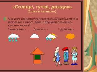«Солнце, тучка, дождик» (1 раз в четверть) Учащимся предлагается определить и
