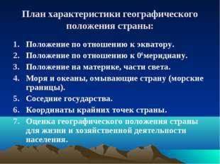 План характеристики географического положения страны: Положение по отношению