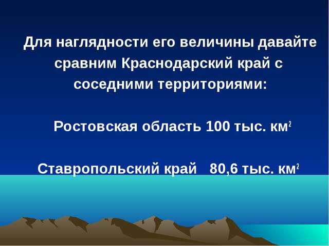 Для наглядности его величины давайте сравним Краснодарский край с соседними...