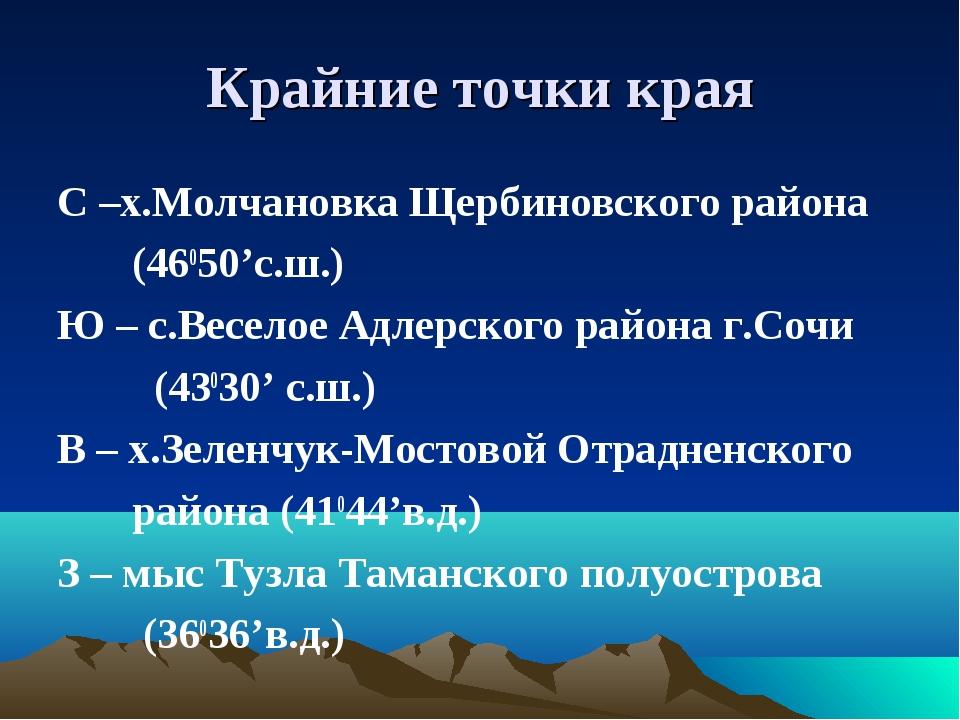 Крайние точки края С –х.Молчановка Щербиновского района (46050'с.ш.) Ю – с.Ве...
