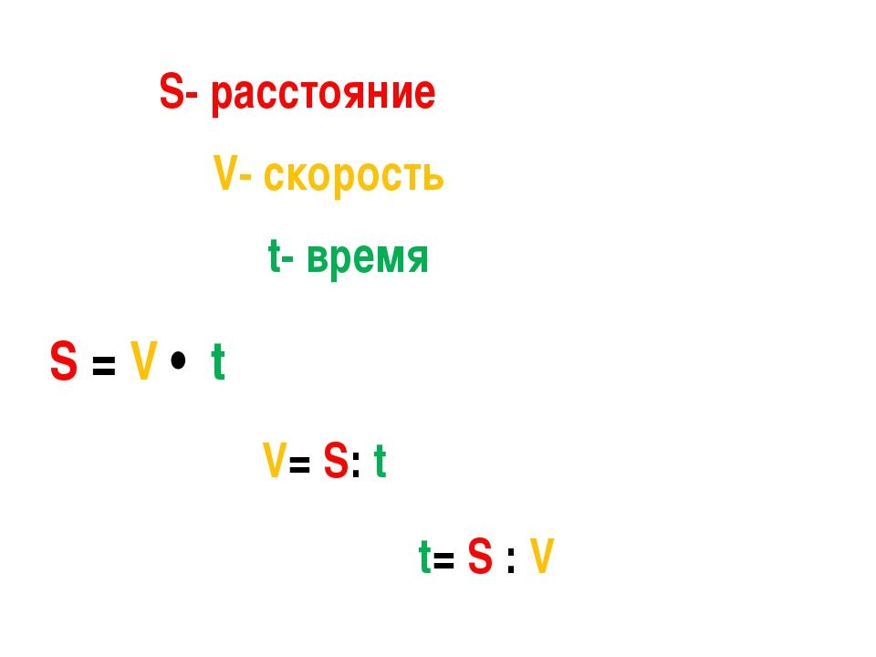 S- расстояние V- скорость t- время S = V • t V= S: t t= S : V