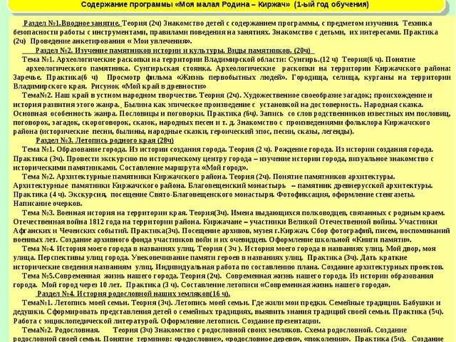 Содержание программы «Моя малая Родина – Киржач» (1-ый год обучения) Раздел №...