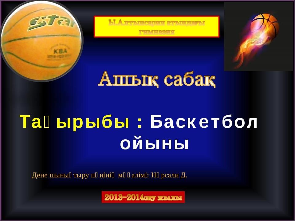 Тақырыбы : Баскетбол ойыны Дене шынықтыру пәнінің мұғалімі: Нұрсали Д.