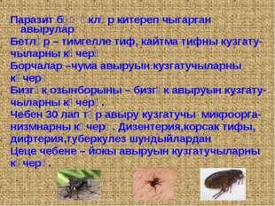 Паразит бәҗәкләр китереп чыгарган авырулар Бетләр – тимгелле тиф, кайтма тифн