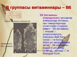 В группасы витаминнары – В6 В6 Витамины (пиридоксин) аксымнар алмашында катна