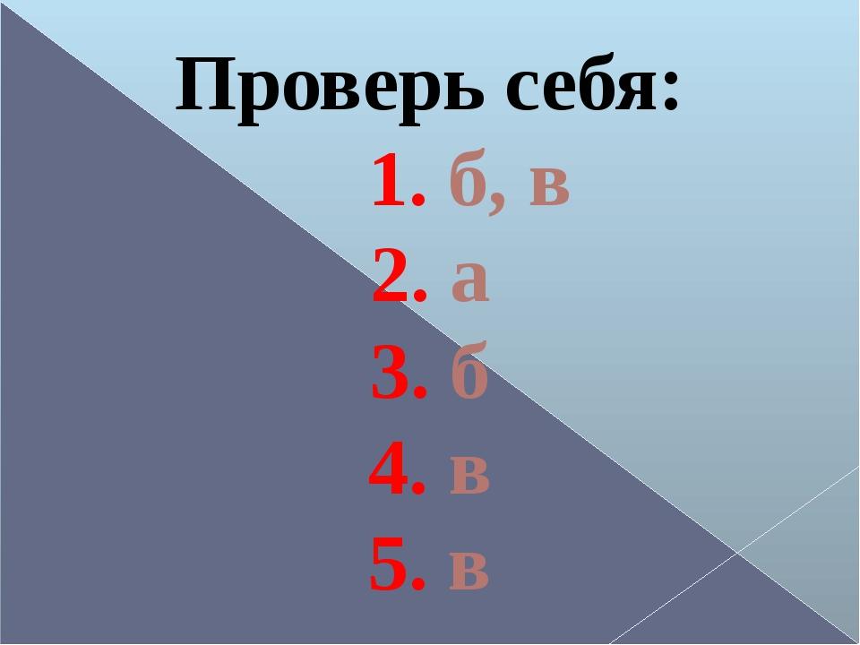 Проверь себя: 1. б, в 2. а 3. б 4. в 5. в