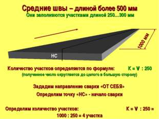 Средние швы – длиной более 500 мм Они заполняются участками длиной 250…300 мм
