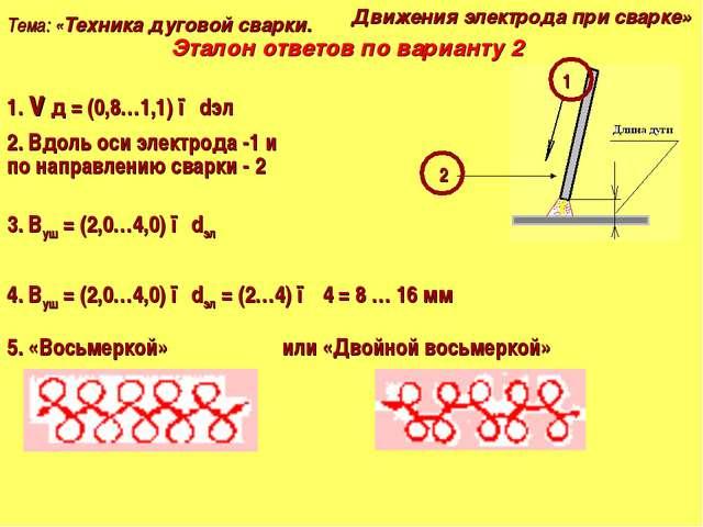 Тема: «Техника дуговой сварки. Движения электрода при сварке» Эталон ответов...