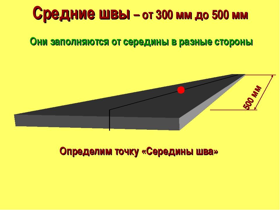Средние швы – от 300 мм до 500 мм Они заполняются от середины в разные сторон...