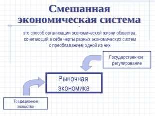 это способ организации экономической жизни общества, сочетающий в себе черты