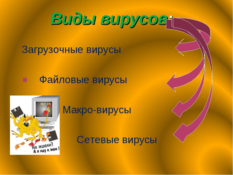 Виды вирусов: Загрузочные вирусы Файловые вирусы Макро-вирусы Сетевые вирусы