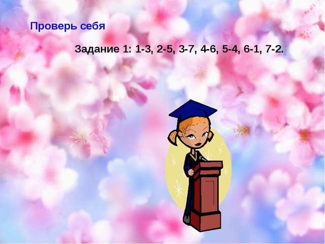 Проверь себя Задание 1: 1-3, 2-5, 3-7, 4-6, 5-4, 6-1, 7-2.