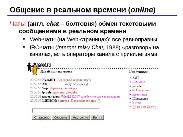 Общение в реальном времени (online) Чаты (англ. chat – болтовня) обмен тексто...