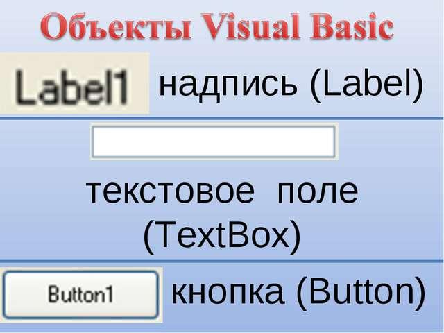 надпись (Label) текстовое поле (TextBox) кнопка (Button)