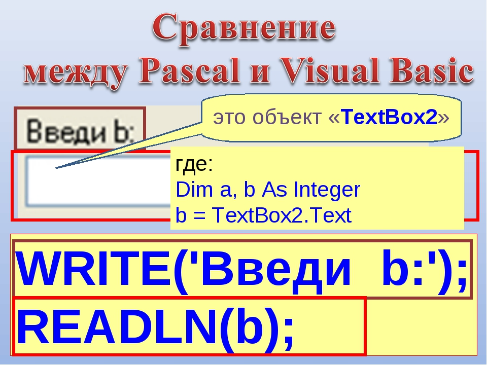 WRITE('Введи b:'); READLN(b); где: Dim a, b As Integer b = TextBox2.Text