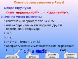 Общая структура:  := ; Значение может включать: константы, например: sb2 :=
