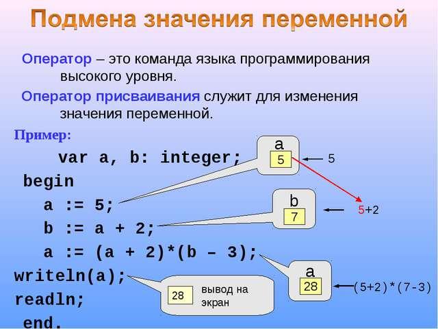 Оператор – это команда языка программирования высокого уровня. Оператор присв...