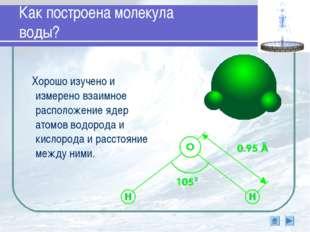 Как построена молекула воды? Хорошо изучено и измерено взаимное расположение