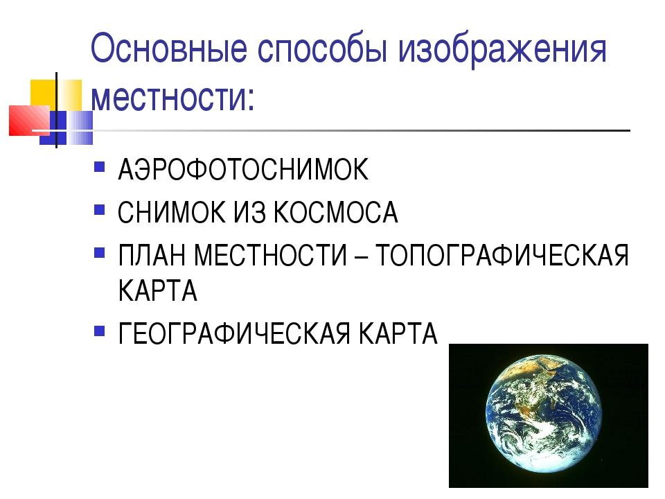 Основные способы изображения местности: АЭРОФОТОСНИМОК СНИМОК ИЗ КОСМОСА ПЛАН...