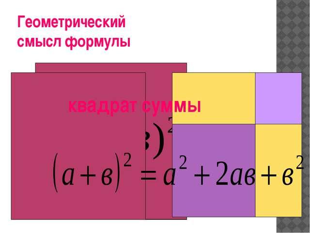Геометрический смысл формулы квадрат суммы