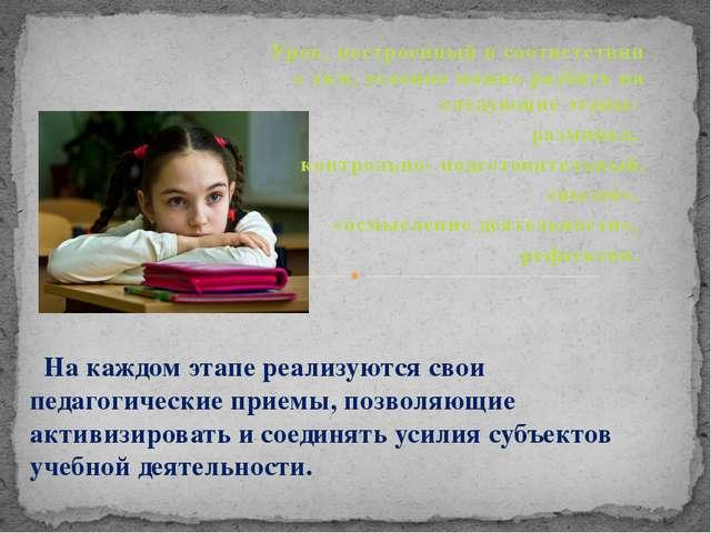 Урок, построенный в соответствии с ткм, условно можно разбить на следующие эт...