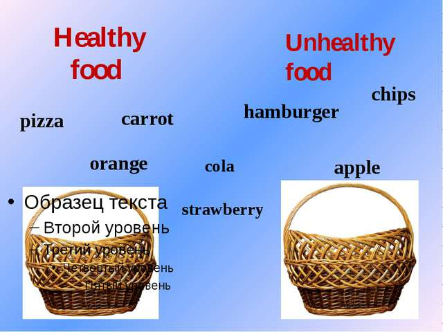 Healthy food Unhealthy food carrot orange pizza hamburger cola chips apple st...