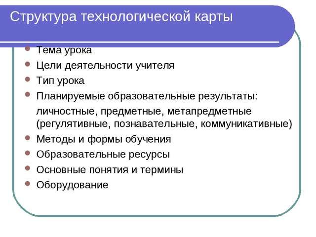 Структура технологической карты Тема урока Цели деятельности учителя Тип урок...