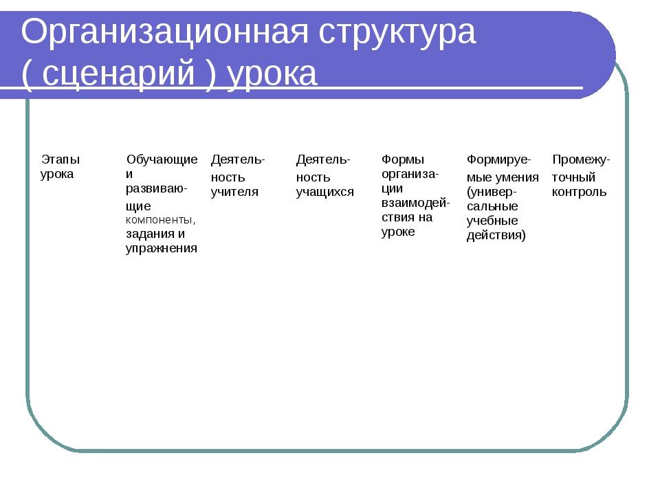 Организационная структура ( сценарий ) урока